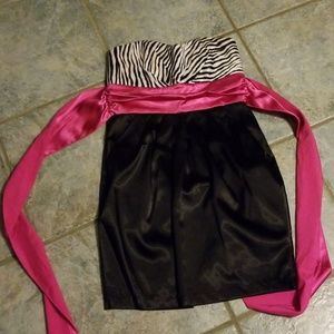 Party dress black and white with pink bow